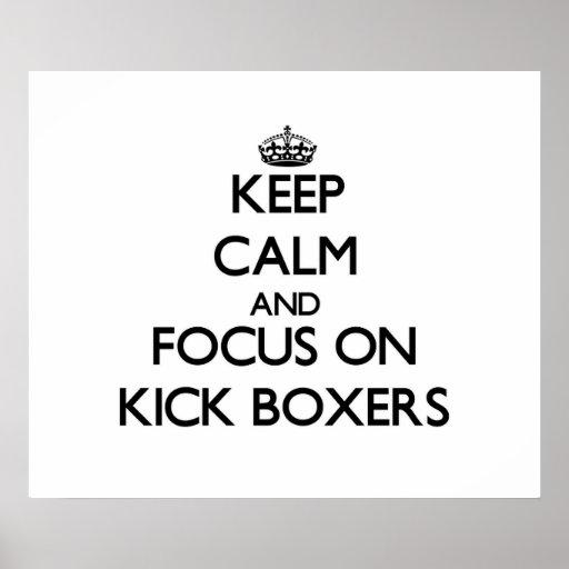 Guarde la calma y el foco en boxeadores del retroc impresiones