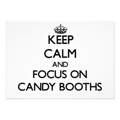 Guarde la calma y el foco en cabinas del caramelo anuncios