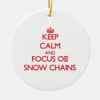 Guarde la calma y el foco en cadenas de nieve