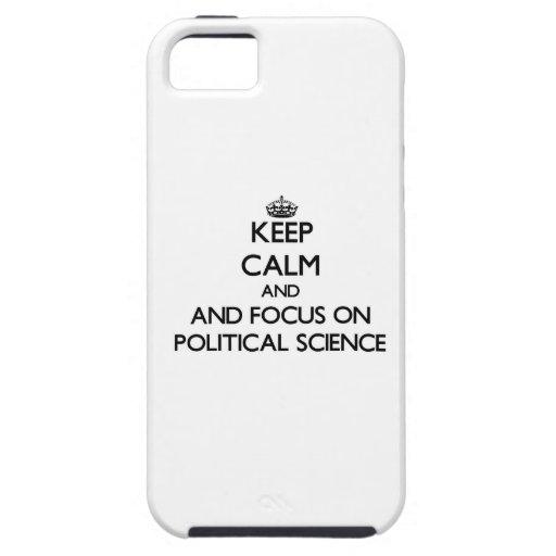 Guarde la calma y el foco en ciencia política iPhone 5 Case-Mate fundas