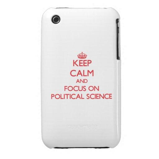 Guarde la calma y el foco en ciencia política iPhone 3 Case-Mate funda