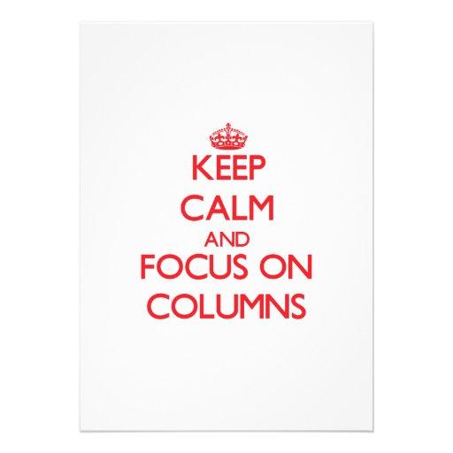 Guarde la calma y el foco en columnas comunicado personalizado