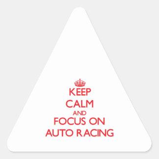 Guarde la calma y el foco en competir con auto colcomanias triangulo
