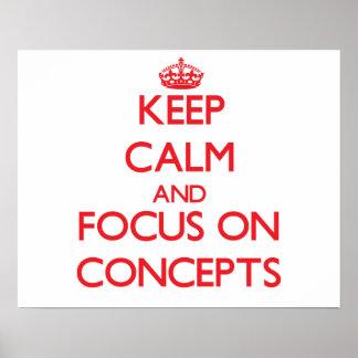 Guarde la calma y el foco en conceptos impresiones