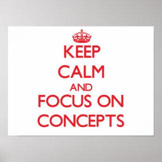 Guarde la calma y el foco en conceptos poster