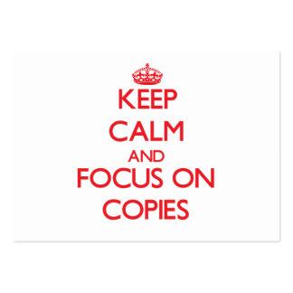Guarde la calma y el foco en copias plantillas de tarjetas de visita