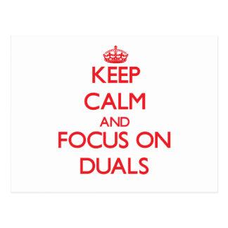 Guarde la calma y el foco en Duals Tarjetas Postales