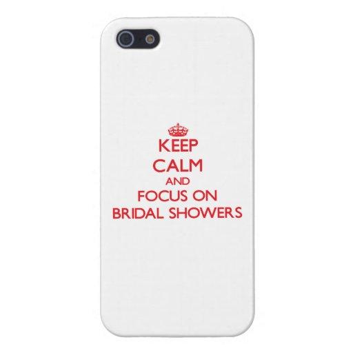 Guarde la calma y el foco en duchas nupciales iPhone 5 carcasa