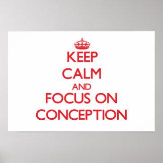 Guarde la calma y el foco en el concepto impresiones