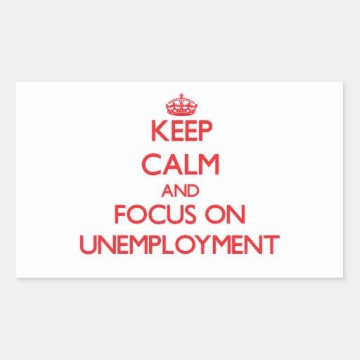 Guarde la calma y el foco en el desempleo rectangular altavoces