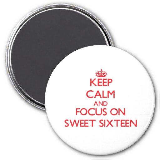 Guarde la calma y el foco en el dulce dieciséis imán para frigorífico