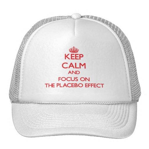 Guarde la calma y el foco en el efecto del placebo gorros bordados