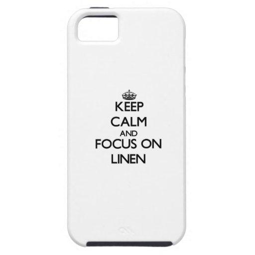 Guarde la calma y el foco en el lino iPhone 5 Case-Mate carcasas