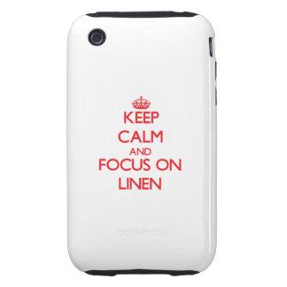 Guarde la calma y el foco en el lino tough iPhone 3 carcasa