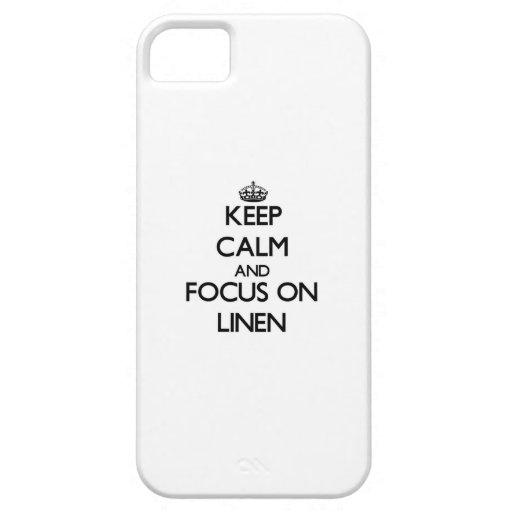 Guarde la calma y el foco en el lino iPhone 5 Case-Mate cobertura