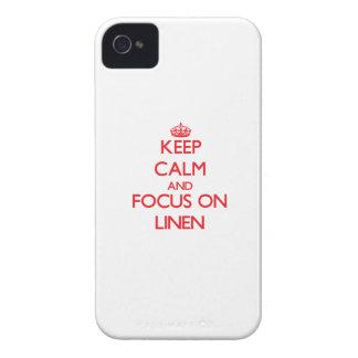 Guarde la calma y el foco en el lino iPhone 4 cobertura
