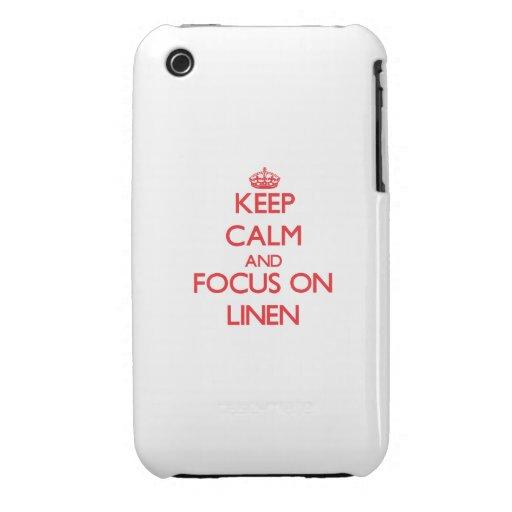 Guarde la calma y el foco en el lino Case-Mate iPhone 3 funda