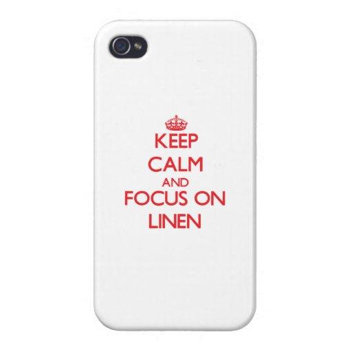 Guarde la calma y el foco en el lino iPhone 4 fundas