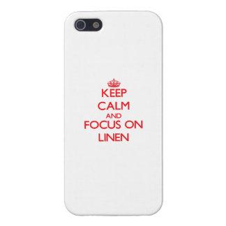 Guarde la calma y el foco en el lino iPhone 5 fundas