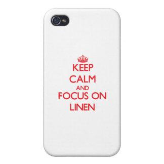 Guarde la calma y el foco en el lino iPhone 4 cárcasa