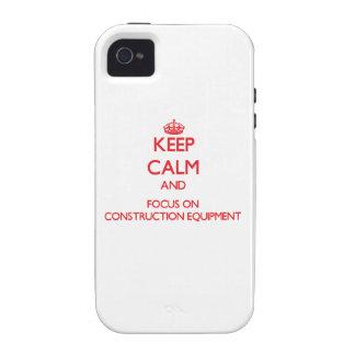 Guarde la calma y el foco en el material de constr iPhone 4 carcasa