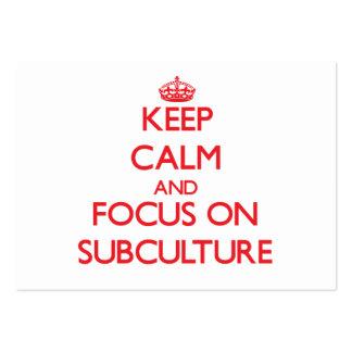 Guarde la calma y el foco en el subcultivo tarjetas de visita grandes
