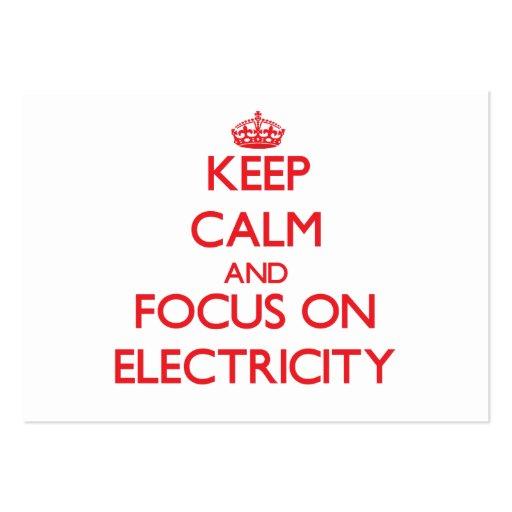 Guarde la calma y el foco en electricidad plantilla de tarjeta de visita