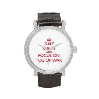 Guarde la calma y el foco en esfuerzo supremo relojes de mano