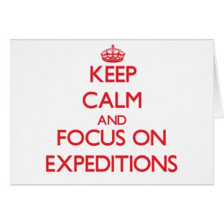 Guarde la calma y el foco en EXPEDICIONES Tarjetas