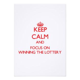 Guarde la calma y el foco en ganar la lotería anuncios