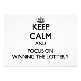 Guarde la calma y el foco en ganar la lotería comunicado personalizado