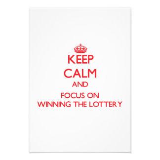 Guarde la calma y el foco en ganar la lotería invitaciones personales