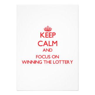 Guarde la calma y el foco en ganar la lotería comunicados personales