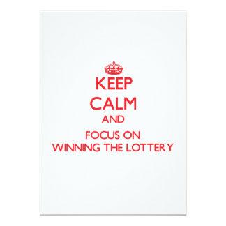 Guarde la calma y el foco en ganar la lotería invitación 12,7 x 17,8 cm