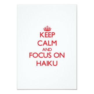 Guarde la calma y el foco en Haiku Invitación 8,9 X 12,7 Cm