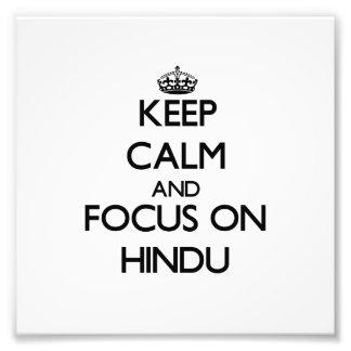 Guarde la calma y el foco en hindú fotografía