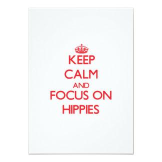 Guarde la calma y el foco en hippies anuncios personalizados