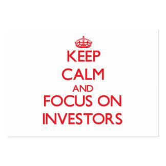 Guarde la calma y el foco en inversores tarjetas de visita grandes