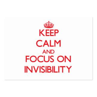 Guarde la calma y el foco en invisibilidad tarjetas de visita grandes