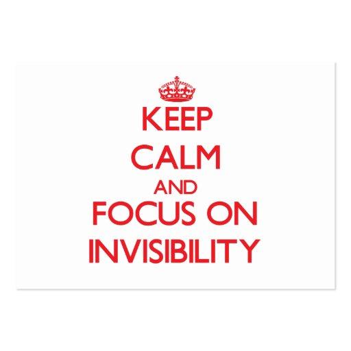 Guarde la calma y el foco en invisibilidad tarjeta de negocio