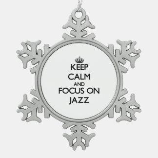 Guarde la calma y el foco en jazz adornos