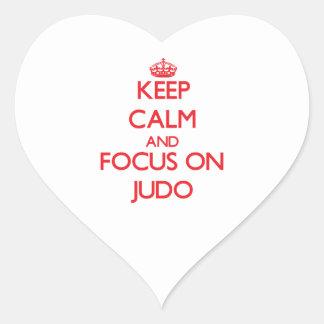 Guarde la calma y el foco en judo calcomania corazon personalizadas
