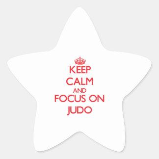 Guarde la calma y el foco en judo calcomanías forma de estrellas personalizadas