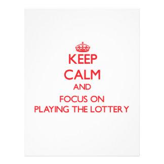 Guarde la calma y el foco en jugar la lotería tarjetas informativas
