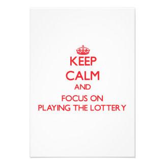 Guarde la calma y el foco en jugar la lotería anuncio