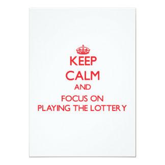 Guarde la calma y el foco en jugar la lotería invitación 12,7 x 17,8 cm