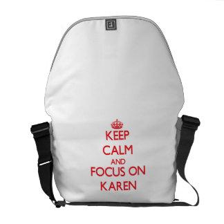 Guarde la calma y el foco en Karen Bolsas De Mensajeria