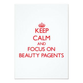 Guarde la calma y el foco en la belleza Pagents Invitación 12,7 X 17,8 Cm