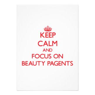 Guarde la calma y el foco en la belleza Pagents Invitacion Personalizada