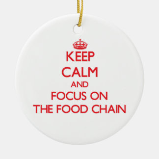 Guarde la calma y el foco en la cadena alimentaria ornamento para arbol de navidad